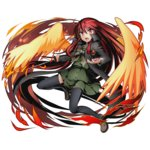 1girl alastor_(shakugan_no_shana) alpha_transparency black_legwear bow bowtie cape divine_gate eyebrows_visible_through_hair fire floating_hair full_body green_bow green_shirt green_skirt hair_between_eyes highres holding holding_sword holding_weapon long_hair official_art one_leg_raised open_mouth orange_wings pleated_skirt red_eyes red_hair school_uniform shakugan_no_shana shana shirt skirt solo sword thighhighs transparent_background ucmm very_long_hair weapon zettai_ryouiki