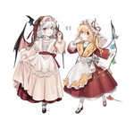 2girls :p absurdres alternate_costume apron bat_hair_ornament bat_wings black_footwear blonde_hair blue_bow blue_hair bow braid commentary cross-laced_footwear dress english_commentary eyebrows_visible_through_hair fangs fingernails fingers_to_mouth flandre_scarlet floral_print french_flag full_body hair_between_eyes hair_ornament hair_ribbon hand_up hat hat_ribbon highres long_hair long_sleeves mary_janes mob_cap multiple_girls nail_polish one_side_up parted_lips pleated_skirt puffy_sleeves red_dress red_eyes red_footwear red_nails red_ribbon red_sash red_skirt remilia_scarlet ribbon sash shan sharp_fingernails shoes siblings simple_background sisters skirt skirt_hold slit_pupils smile standing striped striped_bow tongue tongue_out touhou twin_braids veil vertical-striped_dress vertical_stripes waist_apron white_apron white_background white_bow white_dress white_hat white_legwear wide_sleeves wings