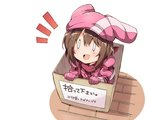 0_0 1girl :d animal_hat arm_strap bandana bangs bibi box brown_hair cardboard_box commentary_request doyagao for_adoption gloves hat highres in_box in_container jacket llenn_(sao) long_sleeves looking_up notice_lines open_mouth pink_bandana pink_gloves pink_hat pink_jacket scarf short_hair smile solo sword_art_online sword_art_online_alternative:_gun_gale_online translated v-shaped_eyebrows