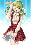 1girl ;d bangs blue_background blush breasts commentary_request cowboy_shot douji eyebrows_visible_through_hair green_hair hair_between_eyes halftone halftone_background hand_up kazami_yuuka long_hair long_sleeves looking_at_viewer one_eye_closed open_mouth outline petticoat plaid plaid_skirt plaid_vest red_eyes red_skirt red_vest shirt skirt skirt_set small_breasts smile solo standing star thighs touhou translation_request uneven_eyes vest white_background white_outline white_shirt
