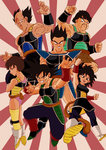 bald bardock black_eyes black_hair boots brown_eyes brown_hair clenched_hands crossed_arms dragon_ball dragon_ball_z earrings facial_hair fighting_stance floating gine grin highres jewelry leotard messy_hair monkey_tail muscle mustache open_mouth panbukin_(dragon_ball) scar scar_on_cheek seripa short_hair skirt smile toma_(dragon_ball) tondamanuke toteppo white_boots wristband