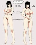 1girl android barefoot black_eyes black_hair breasts full_body highres large_breasts looking_at_viewer navel nipples nude open_mouth original power_symbol pubic_hair pussy self_fondle simple_background stats toenails translation_request yaruku yellow_eyes