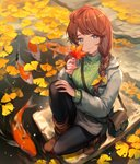 1girl animal autumn_leaves bag bangs black_legwear blue_eyes braid breasts brown_footwear brown_hair closed_mouth commentary_request day eyebrows_visible_through_hair fish from_above ginkgo ginkgo_leaf green_sweater grey_jacket grey_shorts hair_over_shoulder highres holding holding_leaf jacket koi large_breasts leaf lee_hyeseung long_hair long_sleeves looking_at_viewer maple_leaf open_clothes open_jacket original outdoors pantyhose pond ribbed_sweater ripples rock shoes short_shorts shorts shoulder_bag smile solo sweater turtleneck turtleneck_sweater twin_braids water