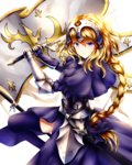 1girl >:( armor armored_dress bangs blonde_hair blue_eyes blush bow braid capelet chain closed_mouth commentary_request cowboy_shot fate/apocrypha fate_(series) faulds flag fur_trim gauntlets hair_bow headpiece highres holding holding_sword holding_weapon jeanne_d'arc_(fate) jeanne_d'arc_(fate)_(all) long_hair looking_at_viewer plackart single_braid solo sword thighhighs v-shaped_eyebrows weapon wsman yellow_eyes