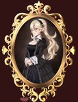 1girl absurdres black_dress breasts corrin_(fire_emblem) corrin_(fire_emblem)_(female) dress fire_emblem fire_emblem_fates hair_between_eyes hair_ornament hairband highres long_hair mamkute pointy_ears portrait red_eyes sarukaiwolf silver_hair simple_background solo