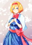 1girl alice_margatroid bangs blonde_hair blue_dress blue_eyes blush bow bowtie breasts capelet clenched_hands commentary cowboy_shot dress eyebrows_visible_through_hair gradient gradient_background grey_background hair_between_eyes hairband highres looking_at_viewer mayonaka_taruho medium_breasts red_bow red_hairband red_neckwear red_sash sash short_hair smile solo touhou white_capelet