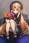1girl abigail_williams_(fate/grand_order) bangs black_bow black_dress black_footwear black_headwear blonde_hair blush bow commentary_request dress fate/grand_order fate_(series) hair_bow hat highres keyhole long_hair long_sleeves looking_at_viewer miya_(pixiv15283026) multiple_bows multiple_hair_bows object_hug orange_bow parted_bangs polka_dot polka_dot_bow red_eyes sleeves_past_fingers sleeves_past_wrists solo stuffed_animal stuffed_toy teddy_bear very_long_hair yellow_bow