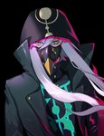 1boy absurdres asclepius_(fate/grand_order) bangs black_jacket commentary_request eyebrows_behind_hair fate/grand_order fate_(series) green_eyes hair_between_eyes highres hood hood_up hooded_jacket hoodie jacket long_hair long_sleeves looking_at_viewer marehuno_17 mask silver_hair simple_background solo upper_body