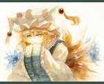 1girl acrylic_paint_(medium) bending_forward blonde_hair dress fox_tail hands_in_sleeves hat hat_with_ears keiko_(mitakarawa) letterboxed long_sleeves looking_at_viewer mixed_media multiple_tails ofuda photoshop pillow_hat short_hair simple_background smile solo tabard tail tassel touhou traditional_media upper_body watercolor_(medium) white_background white_dress wide_sleeves yakumo_ran yellow_eyes