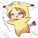 1boy =_= america_(hetalia) axis_powers_hetalia blonde_hair brown_hair chibi closed_eyes cosplay costume crossover glasses happy hinazaki lowres male_focus open_mouth pikachu pikachu_(cosplay) pokemon solo translated