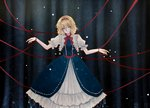 1girl alice_margatroid blonde_hair blue_eyes bound bound_wrists commentary dress embellished_costume frilled_dress frills hairband looking_at_viewer neck_ribbon red_string ribbon sash short_hair shuiwuyue_lian solo string touhou