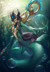 1girl air_bubble blonde_hair breasts center_opening fins floating_hair frills full_body gorget helmet holding_weapon jewelry league_of_legends long_hair md5_mismatch mermaid monster_girl nami_(league_of_legends) outstretched_arm red_eyes scales seaweed signature solo staff swimming underwater yume_ou