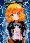 1girl bangs birdcage black_bow blonde_hair bow cage closed_mouth eyebrows_visible_through_hair hair_bow holding juliet_sleeves kurodani_yamame long_sleeves looking_at_viewer puffy_sleeves qqqrinkappp red_eyes sample short_hair silk smile solo spider_web touhou traditional_media