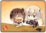 2girls artist_name black_gloves blonde_hair brown_hair capelet chibi closed_eyes commentary feeding food fruit gloves gloves_removed graf_zeppelin_(kantai_collection) grey_eyes hair_between_eyes jacket japanese_clothes kaga_(kantai_collection) kantai_collection long_hair mandarin_orange military military_uniform multiple_girls no_hat no_headwear side_ponytail sidelocks taisa_(kari) tasuki tsurime twintails uniform upper_body yellow_background