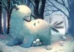 artist_name commentary_request furry horns manino_(mofuritaionaka) no_humans original outdoors scenery snow tail tree