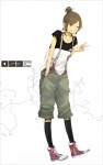 1girl ;) black_legwear blush full_body kneehighs looking_at_viewer one_eye_closed original pants ponytail shoes sidelocks simple_background smile sneakers solo standing suspenders v white_background yoshito