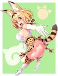 1girl :d animal_ears ass belt blonde_hair blush breasts commentary_request covered_nipples elbow_gloves extra_ears eyebrows_visible_through_hair full_body gloves green_background hair_between_eyes high-waist_skirt highres japari_symbol kemono_friends looking_at_viewer looking_back onsoku_maru open_mouth outstretched_arms outstretched_hand outstretched_leg partial_commentary print_legwear print_neckwear print_skirt scarf serval_(kemono_friends) serval_ears serval_print serval_tail short_hair sideboob skindentation skirt smile solo tail thighhighs twisted_torso white_footwear white_gloves white_legwear yellow_eyes yellow_legwear yellow_neckwear yellow_skirt
