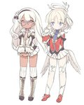 2girls bangs black_hairband blade_(galaxist) blonde_hair blue_eyes boots closed_mouth copyright_request dark_skin eyebrows_visible_through_hair feathered_wings glasses hairband halo hand_up jacket knee_boots long_hair long_sleeves low_wings multiple_girls over-kneehighs pink_eyes pleated_skirt pointy_ears red_jacket simple_background skirt sleeves_past_wrists standing thighhighs very_long_hair white_background white_footwear white_hair white_jacket white_legwear white_skirt white_wings wings