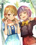 2girls blue_dress blush bow bowtie brown_eyes commentary_request dress drill_hair earrings eyebrows_visible_through_hair fingers_to_cheeks forest high-waist_skirt highres idolmaster idolmaster_cinderella_girls jacket jewelry koshimizu_sachiko lavender_hair light_brown_hair long_hair looking_at_viewer looking_away looking_to_the_side morikubo_nono multiple_girls nature okeno_kamoku open_mouth outdoors puffy_short_sleeves puffy_sleeves ringlets short_hair short_sleeves signature skirt smile stud_earrings sunlight tree upper_body yellow_bow