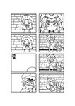 4koma bow braid broom cirno closed_eyes comic crossed_arms crying daiyousei dress fairy_wings hair_bow hair_ribbon hat highres hong_meiling ice ice_wings kirisame_marisa knife_in_head kunitori long_hair manjuu monochrome multiple_girls open_mouth ribbon short_hair side_ponytail silent_comic sleeping smile touhou twin_braids wings witch_hat