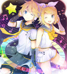 1boy 1girl ;) ;d bass_clef beamed_quavers beamed_semiquavers black_legwear black_shorts blonde_hair blue_eyes bow bowtie brother_and_sister character_name crotchet dated detached_sleeves hair_ornament hair_ribbon hairclip hand_in_hair headphones holding_hands kagamine_len kagamine_rin midriff minim modoromi musical_note nail_polish navel necktie one_eye_closed open_mouth quaver ribbon shirt short_hair short_shorts short_sleeves shorts siblings sleeveless sleeveless_shirt smile staff_(music) star stomach treble_clef vocaloid white_ribbon white_shirt white_shorts yellow_bow yellow_bowtie yellow_nails yellow_necktie
