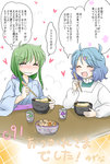 :d ^_^ ahoge blue_hair blush bowl chopsticks closed_eyes commentary cup flower food green_hair green_tea hair_flower hair_ornament hairclip happy heart japanese_clothes kimono kochiya_sanae kotatsu no_nose open_mouth short_hair shrimp shrimp_tempura smile table tatara_kogasa tea teacup tears tempura touhou translated wavy_hair wavy_mouth yunomi yuri yuzuna99