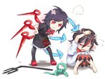 2girls :t anger_vein asutora bangs barefoot black_dress black_hair black_legwear blush covering_head cowering d: dress eyebrows_visible_through_hair flying_sweatdrops hands_on_hips horns houjuu_nue kijin_seija knees_together_feet_apart looking_at_another multicolored_hair multiple_girls neck_ribbon one_eye_closed oni_horns open_mouth pantyhose pigeon-toed polearm pout red_eyes red_footwear red_ribbon ribbon shoes short_sleeves simple_background sitting snake standing streaked_hair tentacles touhou trident weapon white_background white_dress wings