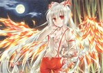 1girl bamboo bamboo_forest bow breasts cleavage collarbone collared_shirt dress_shirt fiery_wings floating_hair forest fujiwara_minaho fujiwara_no_mokou full_moon hair_between_eyes hair_bow hand_in_hair hand_in_pocket long_hair long_sleeves looking_at_viewer marker_(medium) medium_breasts moon nature night outdoors pants red_eyes red_pants shirt silver_hair smile solo suspenders torn_clothes torn_shirt touhou traditional_media very_long_hair watermark white_bow white_shirt wing_collar