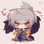 1girl animal bangs bird bird_wings black_hair blush chibi closed_mouth collared_shirt commentary_request eyebrows_visible_through_hair feathered_wings grey_hair grey_legwear grey_shirt grey_shorts hair_between_eyes head_wings kemono_friends long_sleeves looking_at_viewer multicolored_hair muuran necktie no_shoes orange_eyes orange_hair pantyhose shirt shoebill shoebill_(kemono_friends) shorts signature solo standing staring translated white_neckwear wings