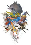 amaterasu angel_wings armband blue_eyes commentary crossover dagger dark_souls diamond_dog dog english_commentary fangs gen_8_pokemon great_grey_wolf_sif greatsword highres koromaru kunai leash link link_(wolf) markings master_sword metal_gear_(series) metal_gear_solid_v mouth_hold multiple_crossover ookami_(game) persona persona_3 pokemon pokemon_(creature) repede revision sandara shield simple_background smile souls_(from_software) sword tail tales_of_(series) tales_of_vesperia the_legend_of_zelda the_legend_of_zelda:_twilight_princess trait_connection vest weapon white_background wings wolf yellow_eyes zacian