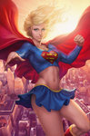 1girl blonde_hair blue_eyes cape city curvy dc_comics foreshortening long_hair midriff miniskirt navel revision signature skirt skirt_lift smile solo stanley_lau sun supergirl superhero superman_(series) toned
