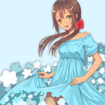1girl axis_powers_hetalia blush dress hair_ribbon long_hair open_mouth ribbon seychelles_(hetalia) shimejiru smile solo twintails yellow_eyes