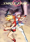 2girls 90s back-to-back blonde_hair boots breasts cleavage copyright_name dirty_pair dirty_pair_flash earrings energy_blade from_above green_eyes gun handgun highres holding holding_gun holding_sword holding_weapon jewelry kei_(dirty_pair) kimura_takahiro long_hair looking_at_viewer multicolored_hair multiple_girls official_art open_mouth orange_hair purple_hair red_footwear short_hair sleeveless standing sword tan thigh_boots thighhighs two-handed two-tone_hair weapon white_legwear yuri_(dirty_pair)