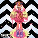 1girl album_cover alternate_costume cephalopod_eyes chain commentary cover crown english_commentary fake_cover flat_chest full_body gang_sign gold_chain hime_(splatoon) hood hoodie mole mole_under_mouth octarian paint_splatter parody pink_hair pose raised_eyebrow robert_porter shoes short_hair sneakers solo splatoon splatoon_2 splatoon_2:_octo_expansion tentacle_hair
