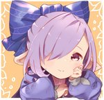 alternate_costume alternate_hairstyle blush_stickers commentary_request granblue_fantasy hair_over_one_eye hair_ribbon hand_on_own_cheek harvin looking_at_viewer nio_(granblue_fantasy) pointy_ears puffy_sleeves purple_eyes purple_hair ribbon smile tadano_omake