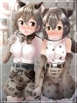 2girls :> :d absurdres amemiya_neru animal_ear_fluff animal_ears bangs bare_shoulders blurry blurry_background blush bow bowtie breasts cat_ears character_request elbow_gloves extra_ears fang gloves grey_hair hair_between_eyes hair_twirling highres holding_hands interlocked_fingers kemono_friends medium_breasts multiple_girls nose_blush open_mouth outdoors print_gloves print_neckwear print_skirt shirt short_hair short_sleeves signature skirt smile thighhighs white_shirt yellow_eyes yuri