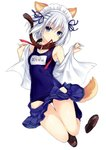 1girl absurdres animal_ears blue_eyes date_a_live dog_ears dog_tail highres mouth_hold official_art open_clothes open_shirt ribbon ribbon_in_mouth school_swimsuit school_uniform short_hair silver_hair swimsuit tail tobiichi_origami tsunako