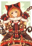 1girl absurdres animal_ears animal_hood bangs birdcage black_capelet black_dress blonde_hair blush brown_eyes cage capelet cat cat_ears cat_girl cat_hood cat_tail closed_mouth commentary_request cosplay cowboy_shot djeeta_(granblue_fantasy) dress eyebrows_visible_through_hair fur-trimmed_capelet fur-trimmed_gloves fur_trim gloves granblue_fantasy hair_between_eyes hands_up head_tilt highres hood hood_up hooded_capelet knights_of_glory kuronekodoushi kuronekodoushi_(cosplay) paw_gloves paws sashima smile solo tail twitter_username