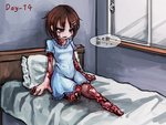1girl bed brown_hair crying crying_with_eyes_open frilled_shirt_collar frills guro hair_ornament hairpin hospital_bed original ray-k short_hair solo tagme tears translated