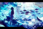 1girl air_bubble blue chair commentary dark fish indoors jellyfish letterboxed light light_rays movie_theater no_eyes original scarf short_twintails solo spencer_sais stingray surreal twintails underwater water