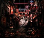1girl album_cover building cable city cover cyberpunk dark highres no_pants original ruins scenery sign toi_(number8) vocaloid