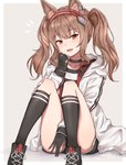 1girl angelina_(arknights) animal_ears arknights bangs blush brown_eyes brown_hair choker collarbone earpiece eyebrows_visible_through_hair eyelashes fox_ears gloves grey_background hairband highres kneehighs knees_up looking_at_viewer mango_(mgo) pale_skin shirt shoes shorts smile sneakers thighs twintails white_coat