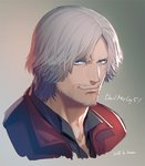 1boy artist_name beard blue_eyes copyright_name dante_(devil_may_cry) dated devil_may_cry devil_may_cry_5 facial_hair grey_hair jacket kuren looking_at_viewer male_focus portrait red_jacket smile solo