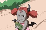 1girl 3: angry bare_arms bare_shoulders black_wings blush carrying commentary corn crying crying_with_eyes_open demon_girl demon_horns demon_wings dress eiri_(eirri) flat_color frown grey_horns grey_skin hairband holding holding_vegetable horns kusakabe_mei low_wings official_style oldschool pink_dress pun red_hair red_hairband short_twintails sleeveless sleeveless_dress streaming_tears teardrop tearing_up tears tonari_no_totoro twintails upper_body walking wings