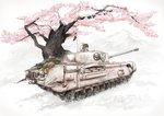 1girl acrylic_paint_(medium) brown_eyes brown_hair bucket caterpillar_tracks cherry_blossoms churchill_(tank) commentary_request ground_vehicle headphones highres military military_vehicle mimit motor_vehicle mountain original shield tank traditional_media