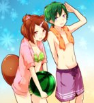 1boy 1girl animal_ears bikini blue_eyes brown_eyes brown_hair flower food fruit glasses green_hair hair_flower hair_ornament hairclip heterochromia jacket jacket_over_swimsuit open_mouth original purple_eyes raccoon_ears raccoon_tail short_hair swimsuit tail towel towel_around_neck umino_(anesthesia) watermelon