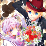 1boy 1girl ak0130 argyle argyle_background blonde_hair blue_eyes bouquet crossover flower grin hair_ornament hairclip jacket kurusu_shou lily_(flower) long_hair purple_eyes purple_hair red_flower red_rose rose smile sophie_(tales) tales_of_(series) tales_of_graces twintails uta_no_prince-sama