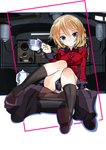 1girl alternate_footwear arm_support bangs black_footwear black_legwear black_skirt blonde_hair blue_eyes border braid closed_mouth commentary crotch_seam cup darjeeling english_commentary epaulettes full_body girls_und_panzer highres holding holding_cup jacket light_smile long_sleeves looking_at_viewer military military_uniform miniskirt panties pantyshot pantyshot_(sitting) pleated_skirt red_border red_jacket sapusakti seat shoes short_hair sitting skirt socks solo st._gloriana's_military_uniform tank_interior teacup teapot tied_hair twin_braids underwear uniform white_panties