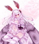 1girl alinafoxglove blush breasts fur highres index_finger_raised insect_girl insect_wings long_hair looking_at_viewer monster_girl monster_girl_encyclopedia mothman_(monster_girl_encyclopedia) navel red_eyes smile solo white_hair wings