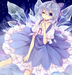 1girl bad_id bad_pixiv_id blue_dress blue_eyes blue_hair bow cirno collarbone dress finger_to_mouth hair_bow ice ice_wings looking_at_viewer miiko_(somnolent) one_eye_closed shirt short_sleeves shushing sitting smile solo touhou wings